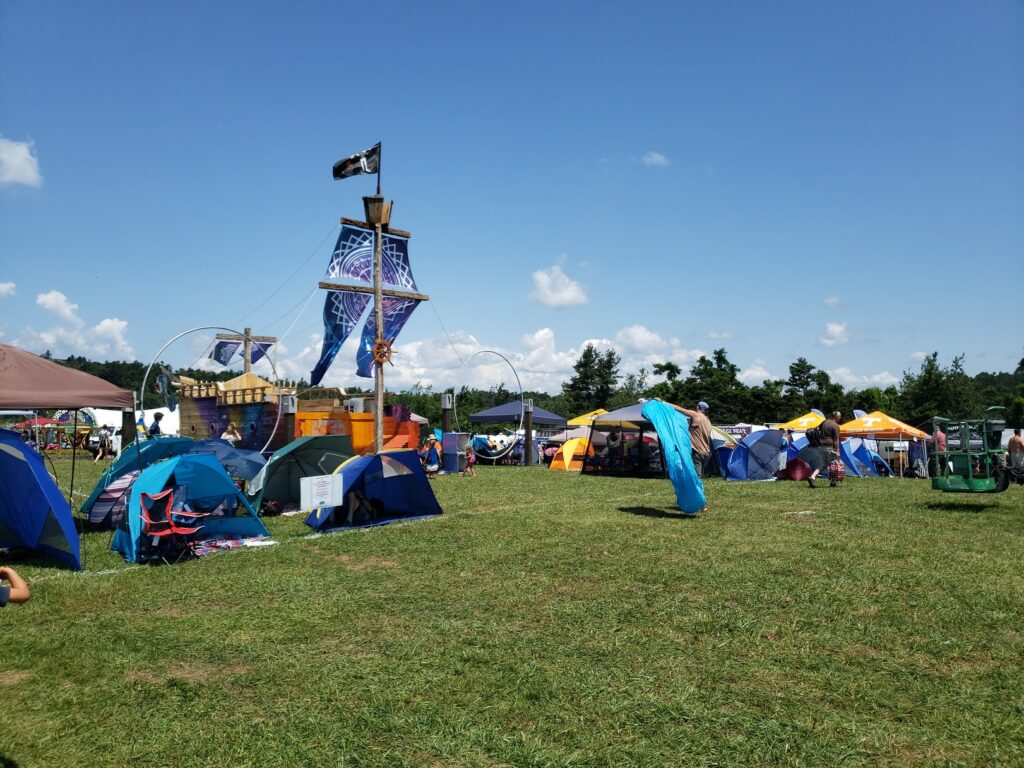 festival grounds showing tents